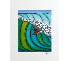 Matted print of Double Overhead by surf artist Heather Brown
