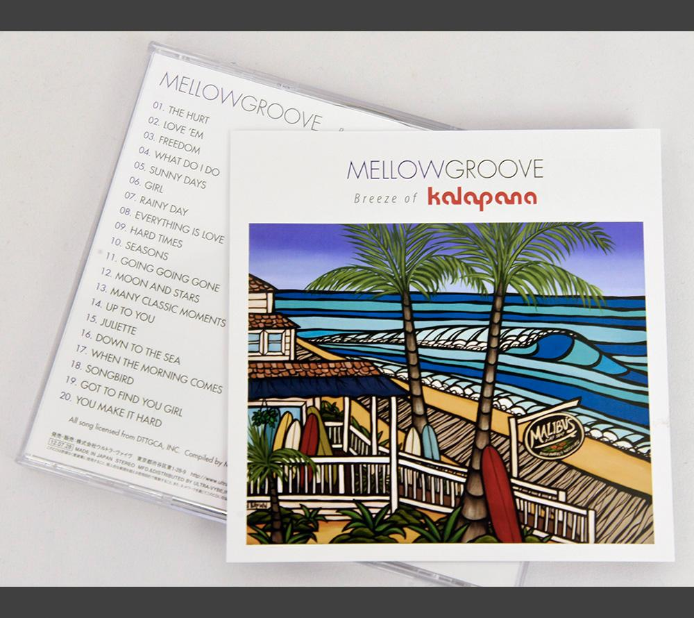 Kalapana's MELLOWGROOVE CD with Heather Brown's Malibu's Surf Shop on the cover.