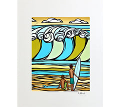 Matted print of Film Festival by surf artist Heather Brown