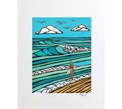 Matted print of Heather Brown's beach art Gem of the Sea