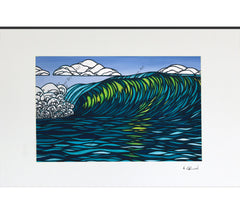 Matted print of Glassy Green by Hawaii artist Heather Brown