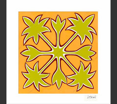 Hawaiian Quilt - Matted Print by Heather Brown