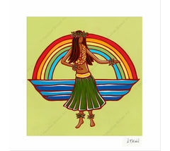 Hula - Matted Print by Heather Brown