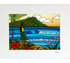 Hula Girl - Matted Print by Heather Brown