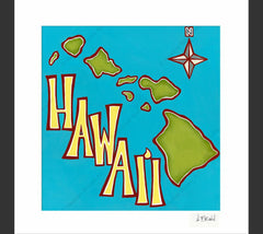 Island Map - Matted Print by Heather Brown