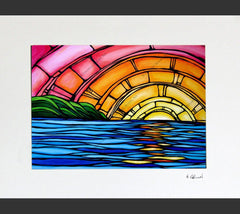 Matted print of Juicy Sunset, a multi-color sunset painting by Heather Brown
