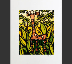 Matted print of Jungle Giraffe by surf artist Heather Brown