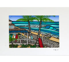 Malibu's Surf Shop - Matted Print on Paper (Mat Only) by Hawaii surf artist Heather Brown