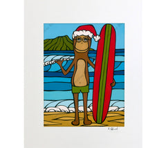 Longboarding with Francis on Christmas - A holiday matted print by Heather Brown