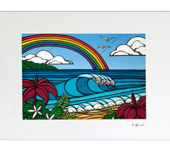 Matted print of Heather Brown's beach art North Shore Rainbow