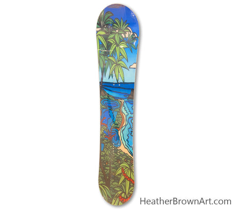 "The ""Moli'i Fishpond"" Limited Edition Snowboard was made in collaboration with Heather Brown Art x Elan Snowboards for the 2014-2015 season."