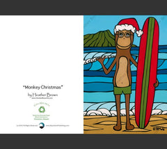Detail - Longboarding with Francis on Christmas Greeting Card by Heather Brown