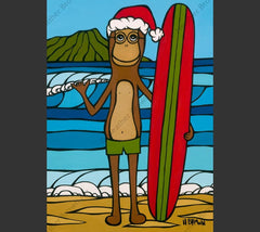 Longboarding with Francis on Christmas - An adorable Monkey wearing a Santa hat out for a day of holiday surfing by Hawaii surf artist Heather Brown