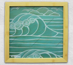Heather Brown Art featuring a big Hawaii wave printed on wood and framed in Bamboo