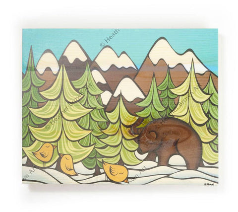 Mountain Bear - Open Edition Wood Panel Print by Heather Brown