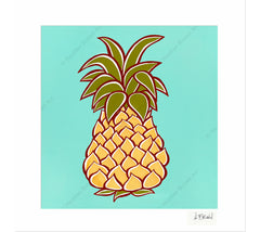 Pineapple - Matted Print by Heather Brown