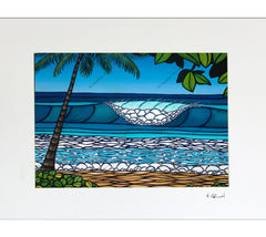 Pipeline - Matted Print on Paper (Mat Only) by Hawaii surf artist Heather Brown