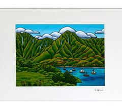 Sailboats at Hanalei - Matted Print by Heather Brown