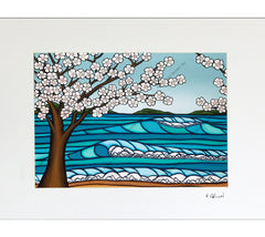 Sakura - Matted Print on Paper (Mat Only) by Hawaii surf artist Heather Brown