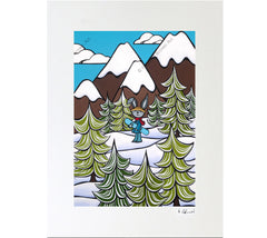 Snow Bunny - Matted Print on Paper (Mat Only) by Heather Brown