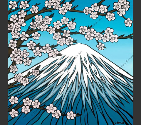 Mt. Fuji - Mt. Fuji in the spring time when there is snow still on the mountain and the cherry blossoms are in full bloom by Heather Brown