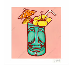 Tiki Mug - Matted Print by Heather Brown
