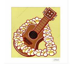 Ukulele - Matted Print by Heather Brown