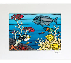Under the Sea - Matted Print by Heather Brown