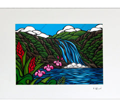 Matted print of Heather Brown's tropical art North Shore Rainbow