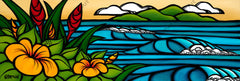 Mystic Hawaii - Painting of a serene tropical beach with rolling waves in the distance by tropical artist Heather Brown