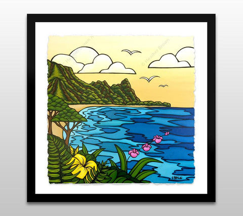 North Shore Kauai - Framed Deckled Paper Print by Heather Brown