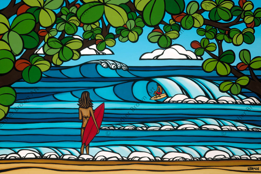 North Shore Holiday - The perfect Hawaiian Vacation with a beautiful morning on the North Shore of Oahu by Hawaii surf artist Heather Brown