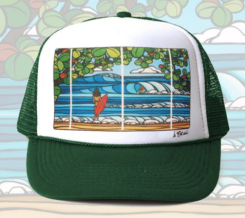 North Shore Holiday Trucker Hat by Hawaii artist Heather Brown