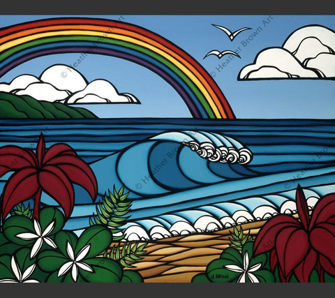 Beach art painting of a rainbow by Hawaii artist Heather Brown