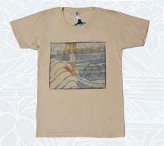 100% cotton creme shirt with surf artwork by Heather Brown