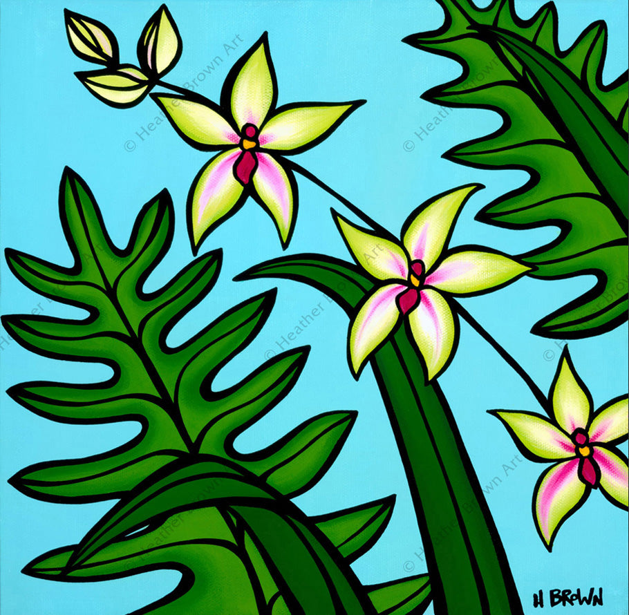 "Orchid - Painting of an Orchid Flower by Hawaii artist Heather Brown is part four of the ""Hawaiian Botanicals"" series"