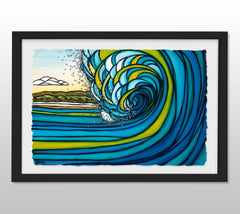 Outer Reef - Black Framed Deckled Paper Print by Heather Brown
