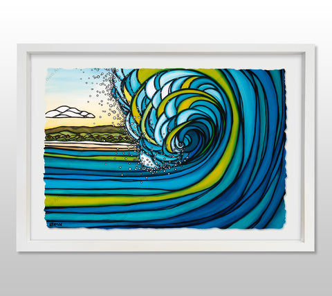 Outer Reef - White Framed Deckled Paper Print by Heather Brown