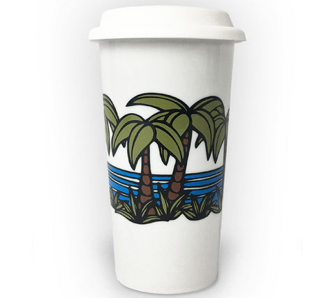 Palm Tree Coffee tumbler with iconic surf art by Heather Brown Art