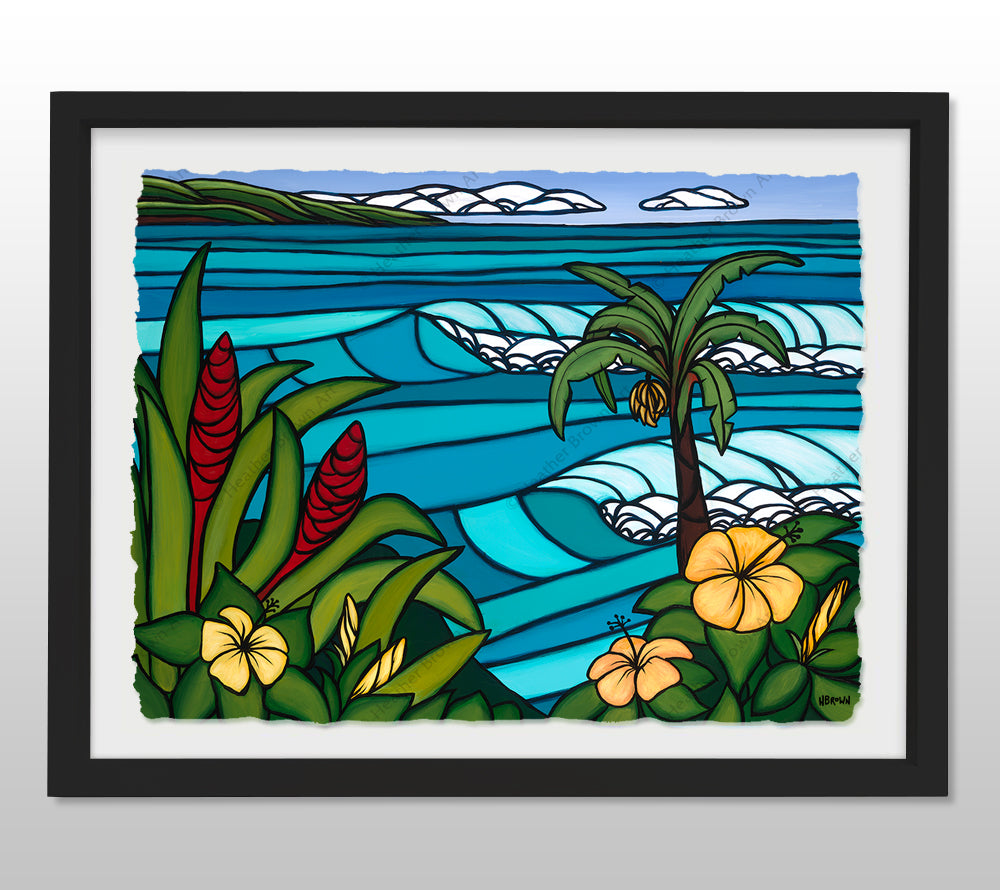 Paradise Found - Black Framed Deckled Paper Print by Heather Brown