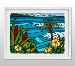 Paradise Found - White Framed Deckled Paper Print by Heather Brown