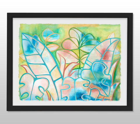 Pastel Paradise - Black Framed Deckled Paper Print by Heather Brown