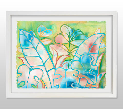 Pastel Paradise - White Framed Deckled Paper Print by Heather Brown