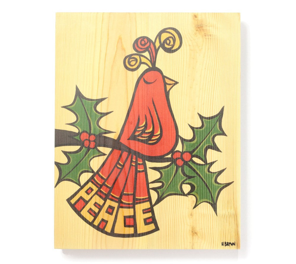 Peace Bird - Open Edition Wood Panel Print by Heather Brown
