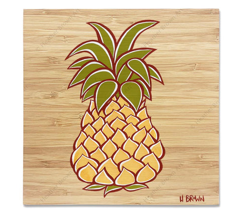 Pineapple - Bamboo wood print of a stylized Hawaiian pineapple by tropical artist Heather Brown