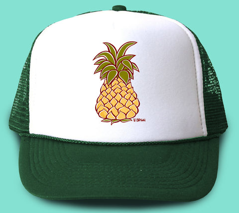 """Pineapple"" Trucker Hat - Wearable Art by Tropical Artist Heather Brown"