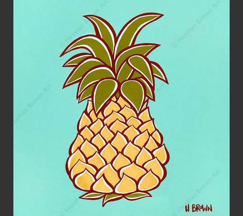 "Pineapple - Matted print from the ""Hawaiiana Elements Series"" by North Shore Oahu Tropical Artist Heather Brown featuring a stylized Hawaiian pineapple."