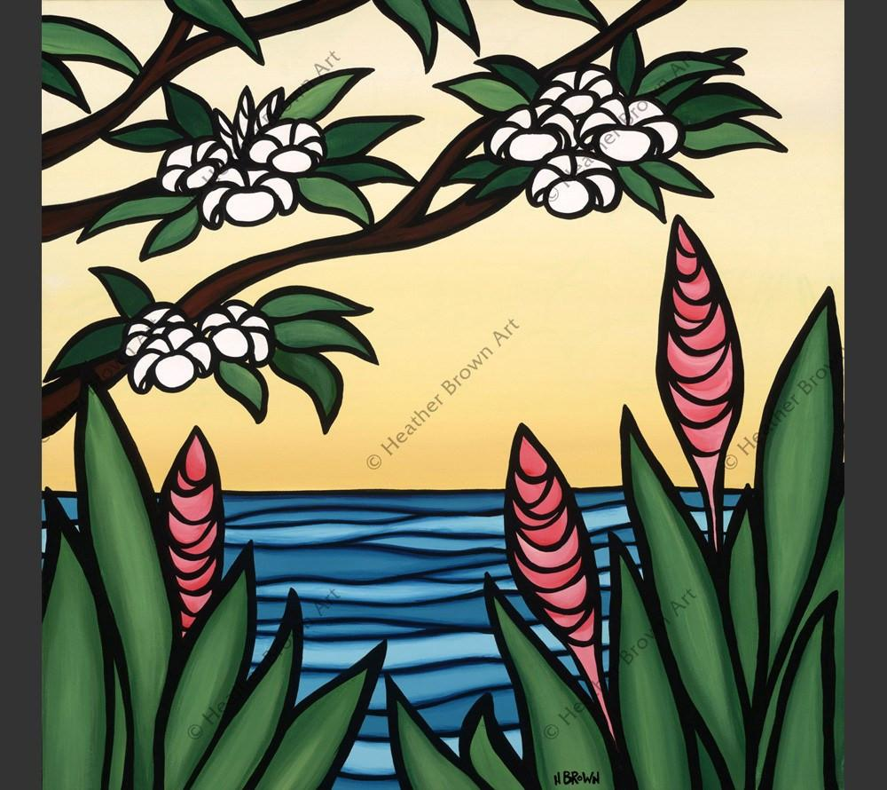Pink ginger products heather brown art tropical hawaiian surf pink ginger morning view of a calm ocean through tropical hawaiian flowers by hawaii surf izmirmasajfo