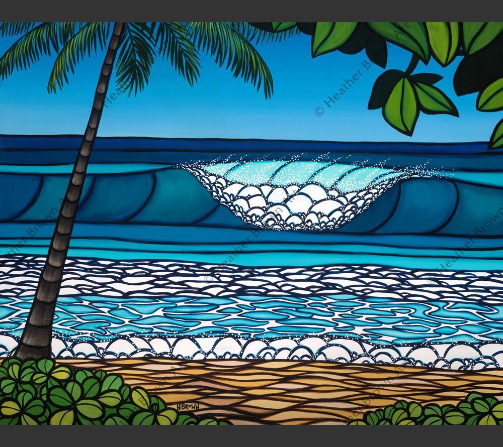 Pipeline - The iconic surf spot on the North Shore of Oahu by Hawaii surf artist Heather Brown