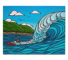 Pipeline Style - Bamboo wood print of Gerry Lopez surfing a huge wave at Pipeline, North Shore of Oahu by tropical artist Heather Brown